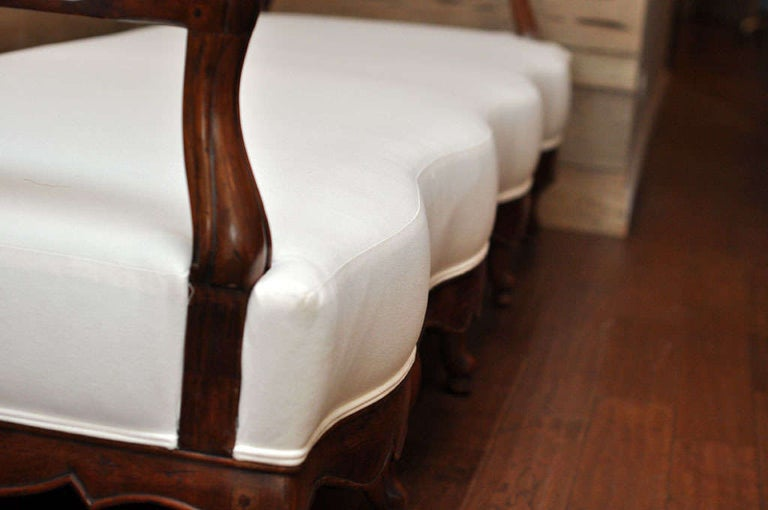 19th Century French Carved Wood and Upholstered Bench For Sale 6