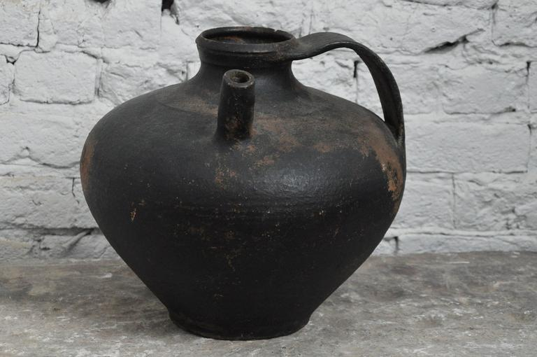 French Early 20th Century Spouted Blacked Pot From Paris