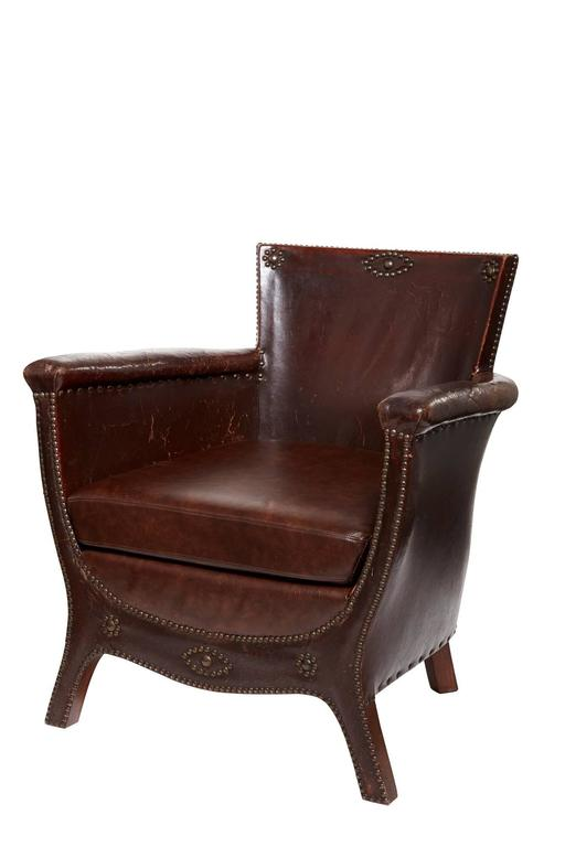 20th Century Otto Schulz Original Swedish Leather Armchair For Sale 2