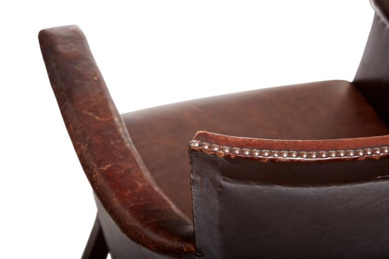 20th Century Otto Schulz Original Swedish Leather Armchair For Sale 7