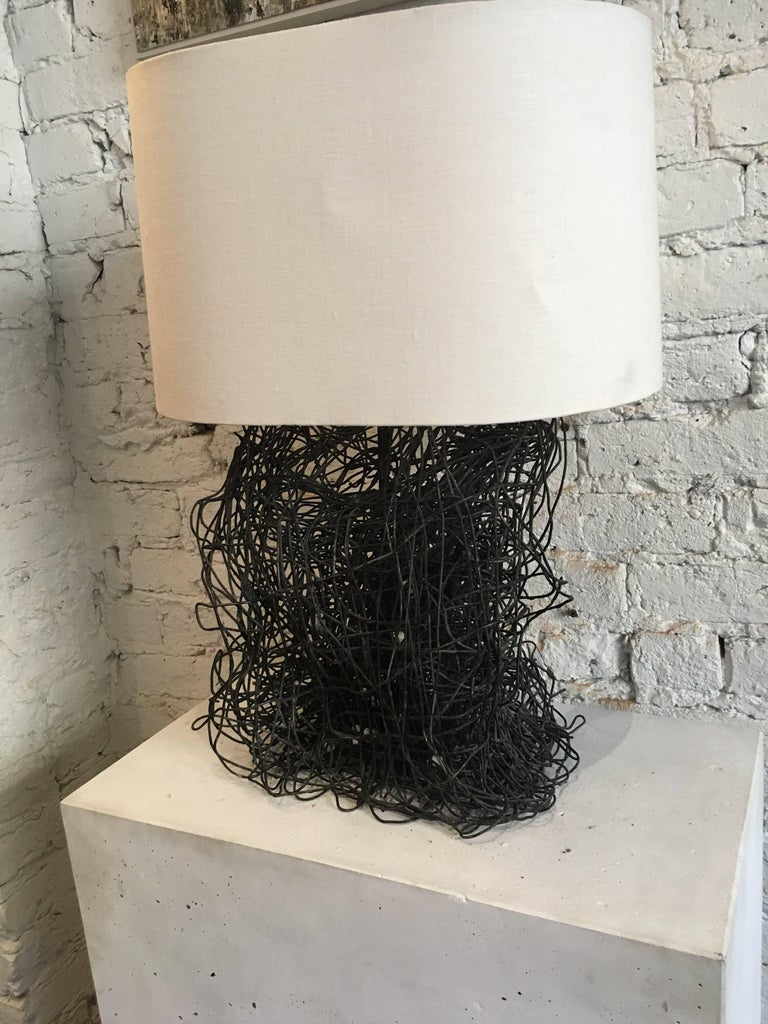 20th Century Sculptural Wire Lamp with Custom French Paper Shade at ...