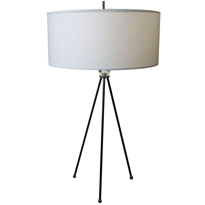 Mid-20th Century Extra Tall Iron Table Lamp with Custom Shade