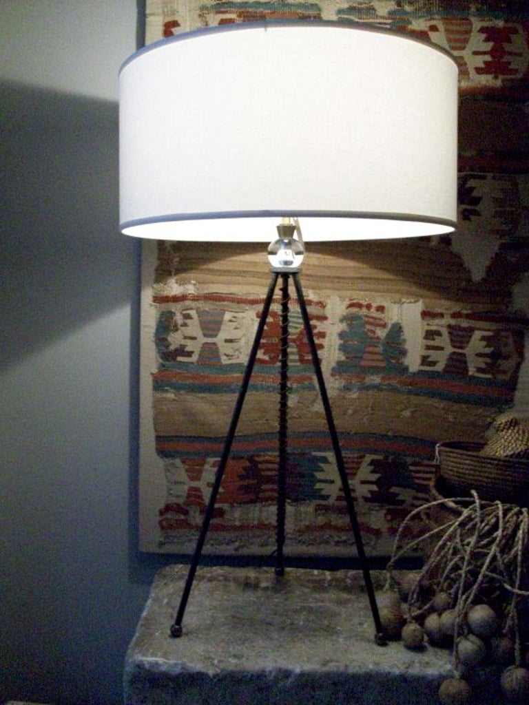 Mid-20th Century Extra Tall Iron Table Lamp with Custom Shade For Sale 6