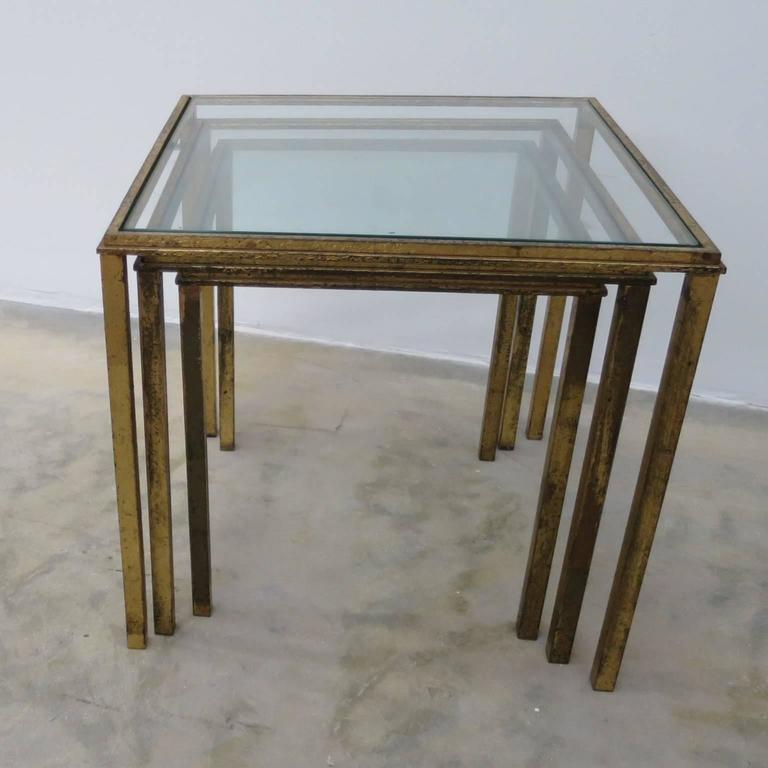 Two Sets Of Mid Century Three Gilt Wrought Iron Nesting Tables By R.Thibier