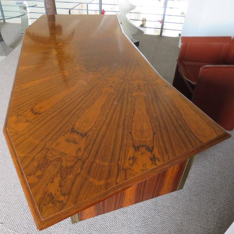 Mid Century Rosewood Executive Desk Att To Adnet
