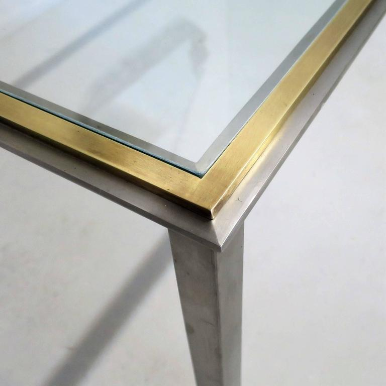 Mid-Century Modern Mid-Century Coffee Table in the Romeo Rega Style Steel and Brass Frame For Sale