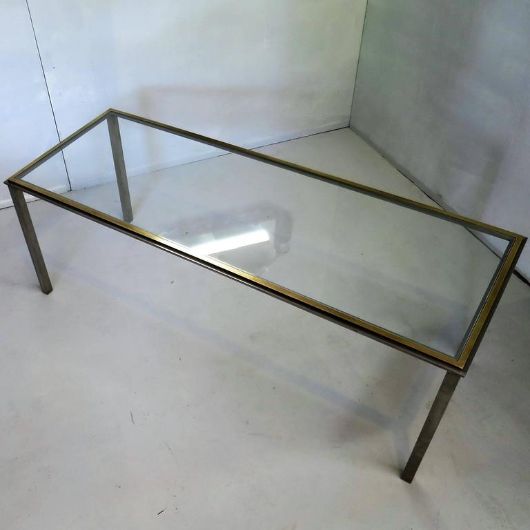 American Mid-Century Coffee Table in the Romeo Rega Style Steel and Brass Frame For Sale