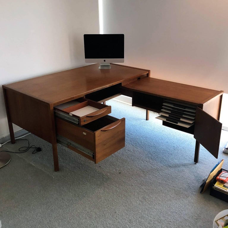 Teak Mid-Century Modern Desk with a Side Extension by Jens Risom For Sale