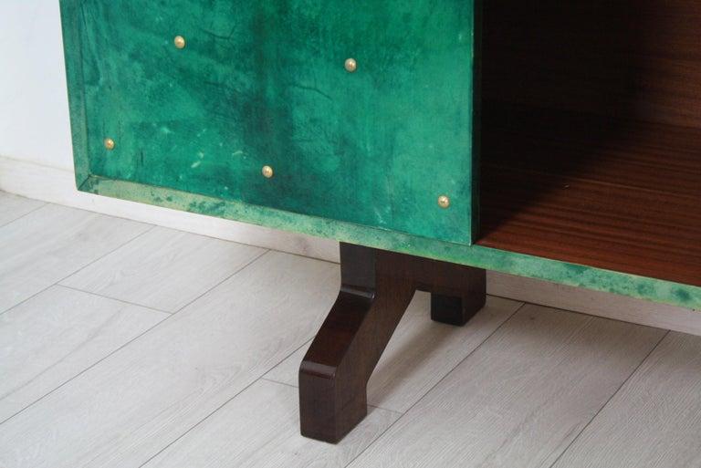 Aldo Tura Emerald Goatskin Sideboard For Sale 8