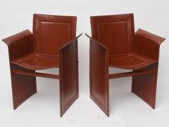 Pair of Italian Armchairs  in Leather Mid-Century Modern Matteo Grassi