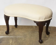 19th Century Mahogany English Seat kidney- shaped