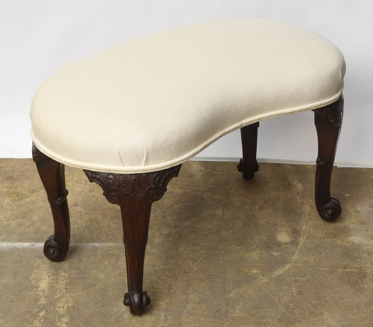 19th Century Mahogany English Seat kidney- shaped In Excellent Condition For Sale In Miami, FL
