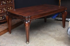 Art Deco Solid Mahogany Dining Table in the Style of Pascaud