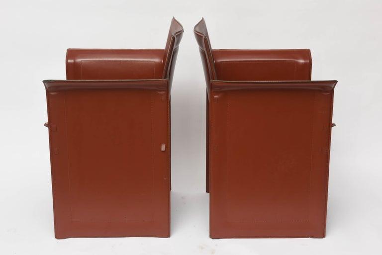 20th Century Four Italian  Mid-Century Modern Matteo Grassi leather armchairs For Sale