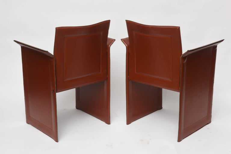 Leather Four Italian  Mid-Century Modern Matteo Grassi leather armchairs For Sale