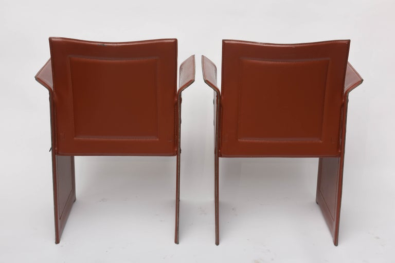 Four Italian  Mid-Century Modern Matteo Grassi leather armchairs For Sale 3