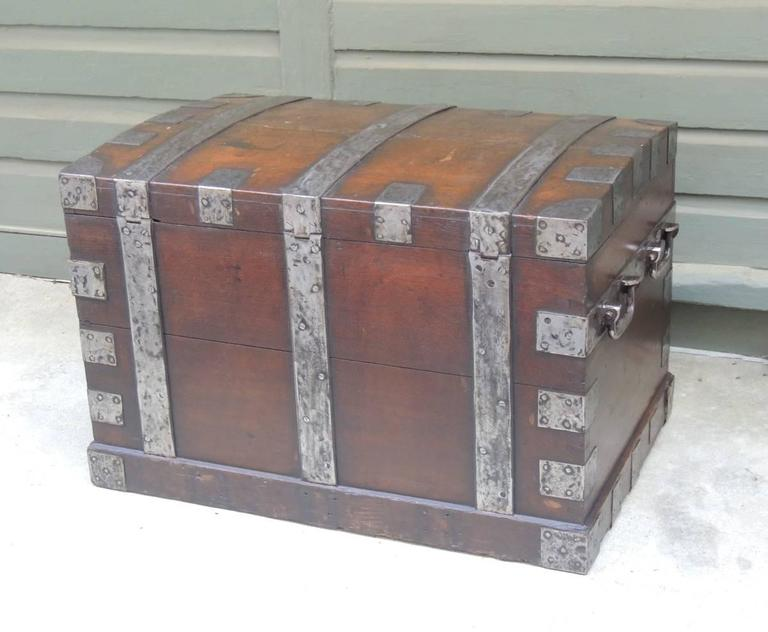 Mid 19th C English Oak Silver Chest with Double Lock 8