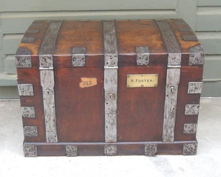 Mid 19th C English Oak Silver Chest with Double Lock 2