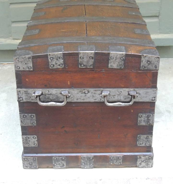 Mid 19th C English Oak Silver Chest with Double Lock 7