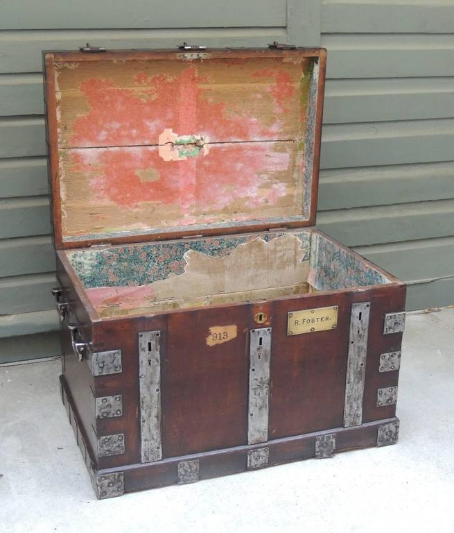 Mid 19th C English Oak Silver Chest with Double Lock 4