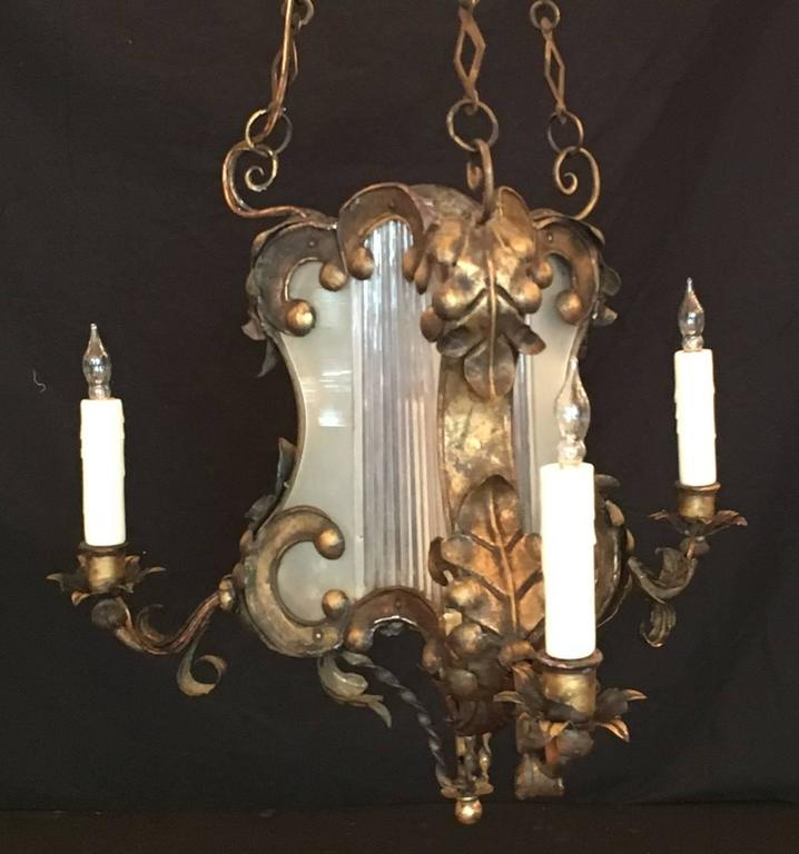 Iron 18th C Venetian Baroque Gilt, Tole, and Glass Lantern Chandelier For Sale