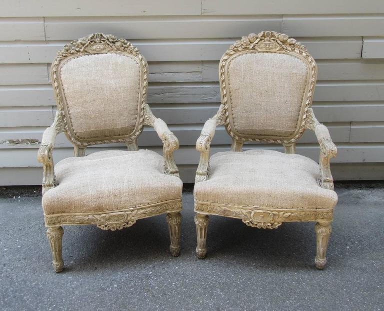 pair of 19th c french louis xiv style carved fauteuil. Black Bedroom Furniture Sets. Home Design Ideas