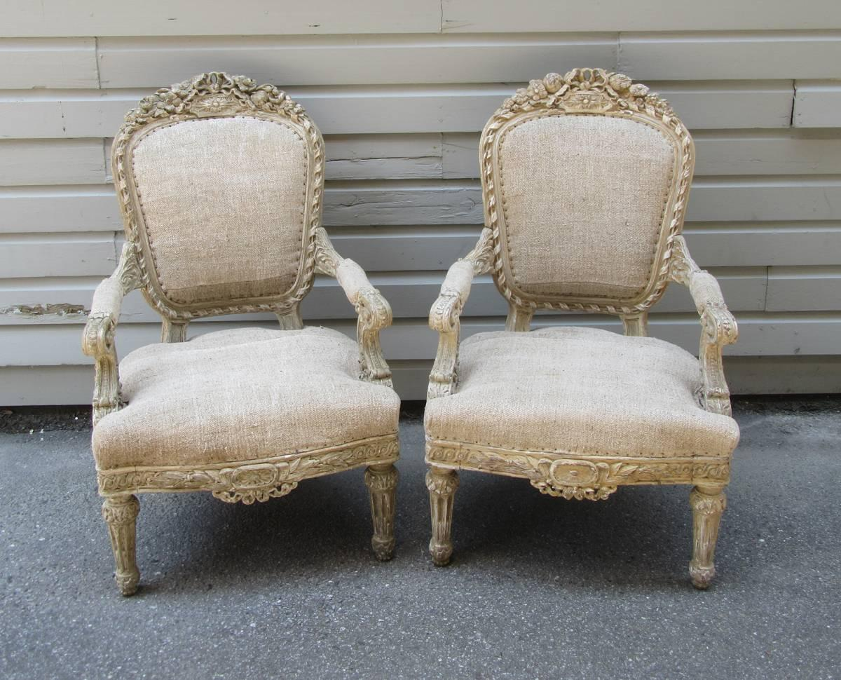 pair of 19th c french louis xiv style carved fauteuil chairs for sale at 1stdibs. Black Bedroom Furniture Sets. Home Design Ideas