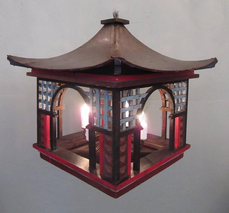 Early 20th century french oriental pagoda papier m ch and for Papier mache lanterns