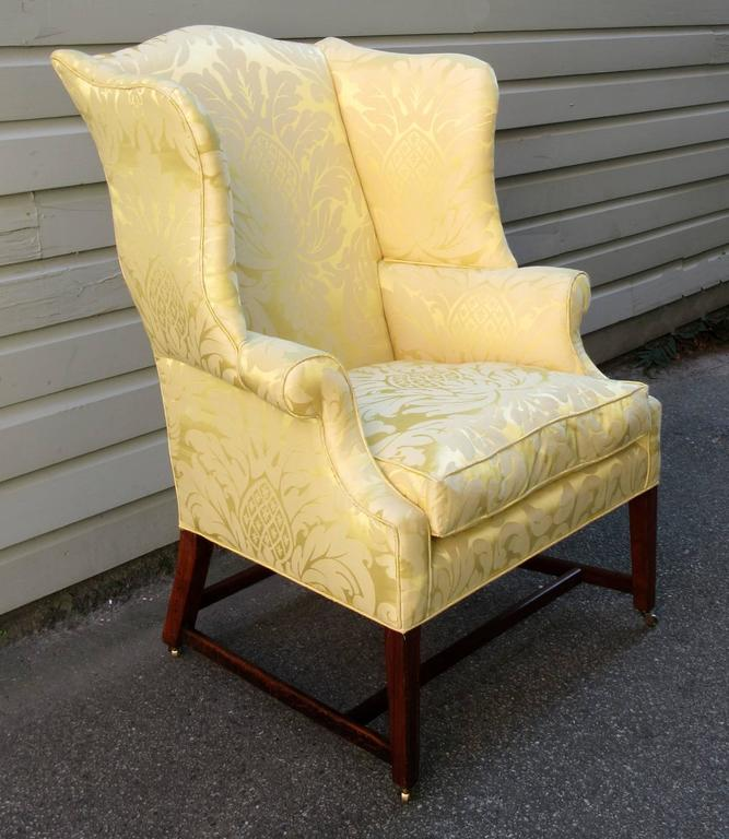 A Federal Upholstered Wingback Chair From Virginia, Circa 1790, Featuring  New Upholstery, A