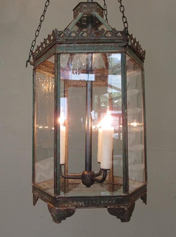 Th Century Chinese Rosewood Frosted Glass Lantern
