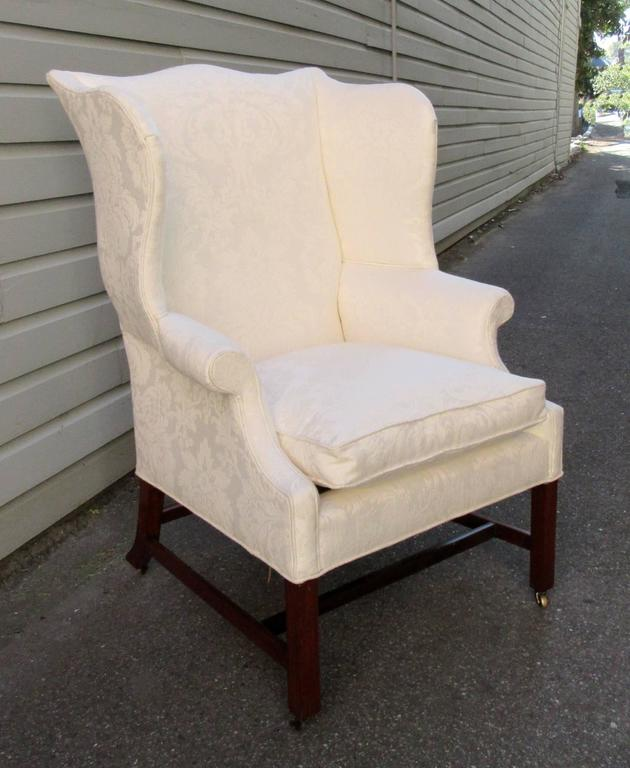 A Virginia federal wingback chair made of black walnut circa 1770 featuring new ivory & Late 18th Century Virginia Federal Black Walnut Upholstered Wingback ...