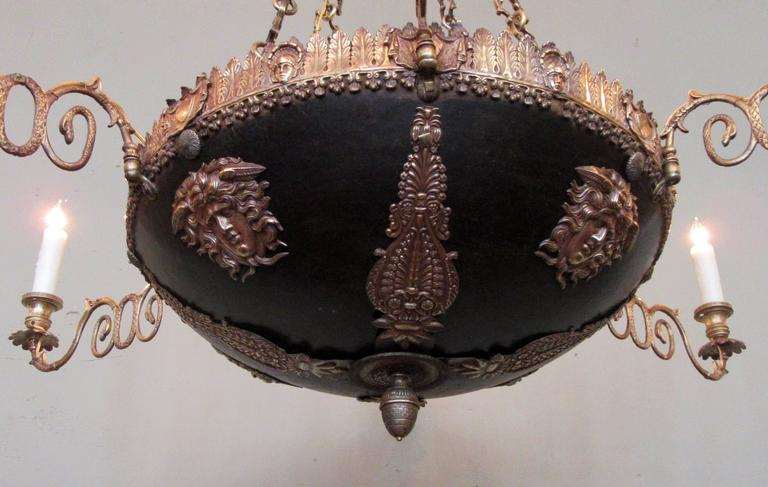 18th Century Italian Neoclassical Patinated Bronze Chandelier For Sale 7