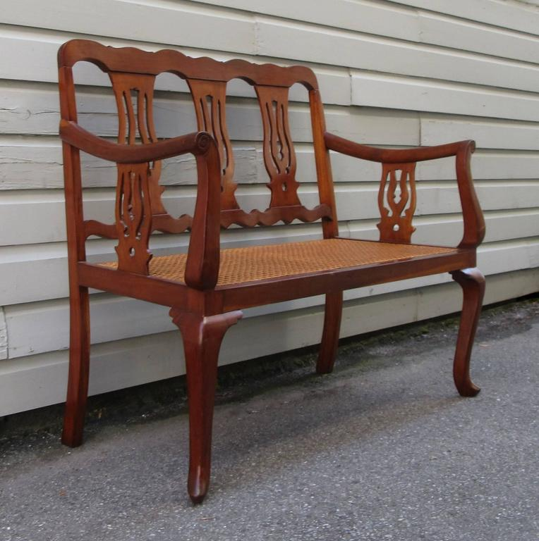 19th Century St.Croix Regency Mahogany and Cane Bench 2