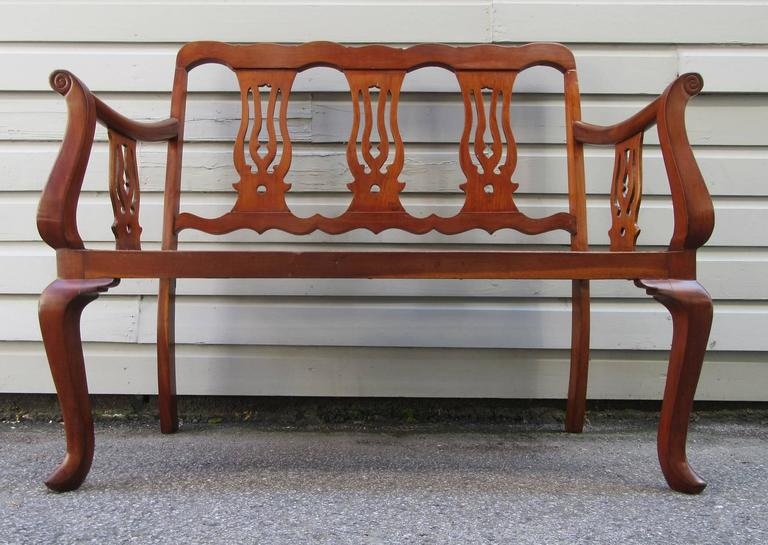 19th Century St.Croix Regency Mahogany and Cane Bench 4