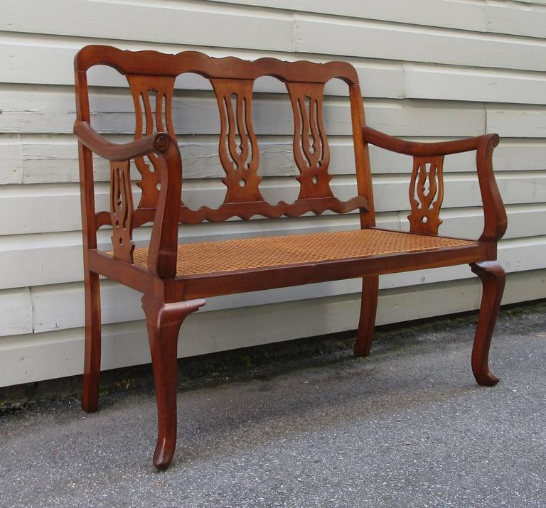 19th Century St.Croix Regency Mahogany and Cane Bench 5