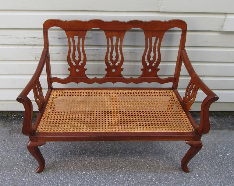 19th Century St.Croix Regency Mahogany and Cane Bench 3