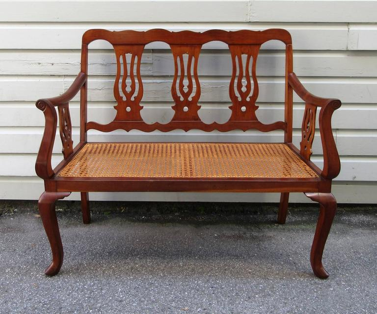19th Century St.Croix Regency Mahogany and Cane Bench 8