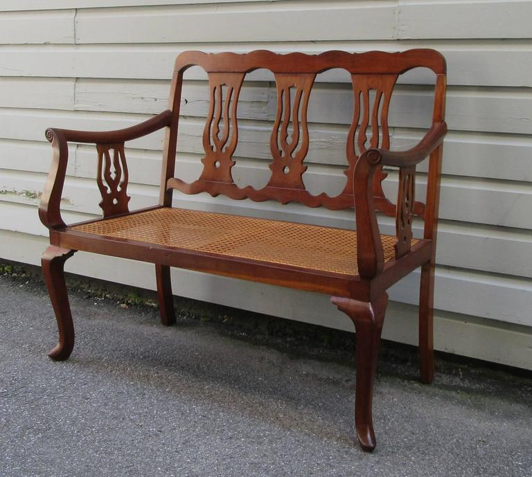 19th Century St.Croix Regency Mahogany and Cane Bench 9
