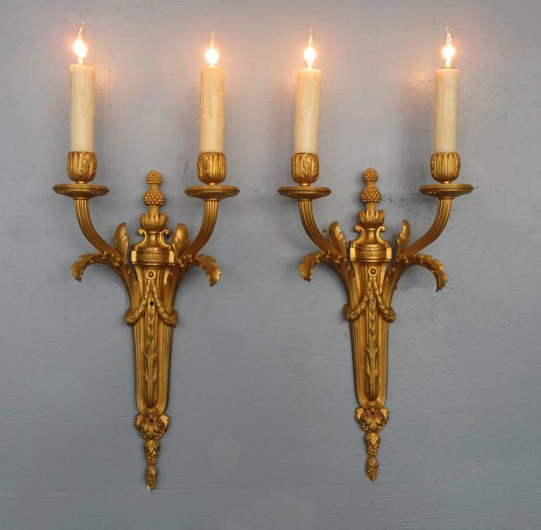 Pair of Mid-19th Century French Louis XVI Bronze Dore Sconces 2