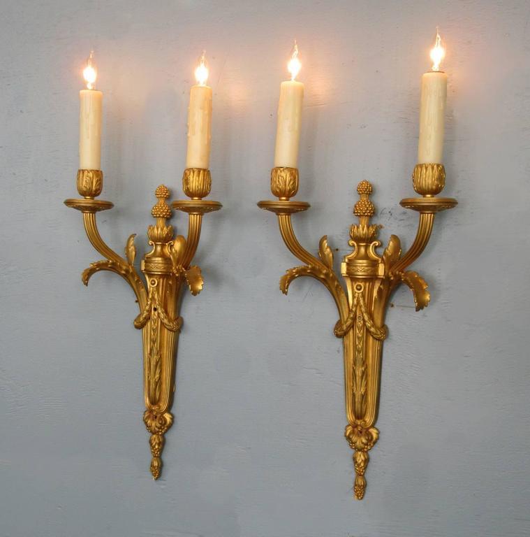 Pair of Mid-19th Century French Louis XVI Bronze Dore Sconces 3