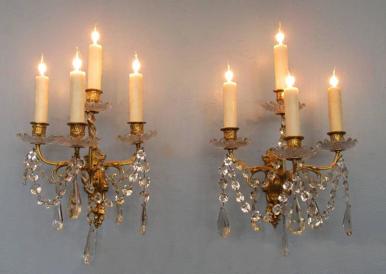 Pair of Early 19th Century French Regence Crystal and Bronze Dore Sconces 8