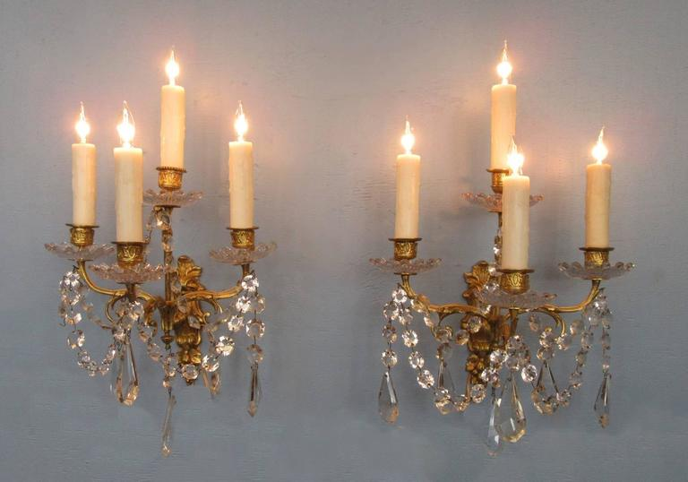 Pair of Early 19th Century French Regence Crystal and Bronze Dore Sconces 3