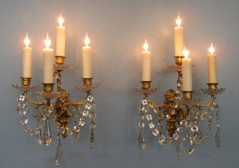 Pair of Early 19th Century French Regence Crystal and Bronze Dore Sconces 2