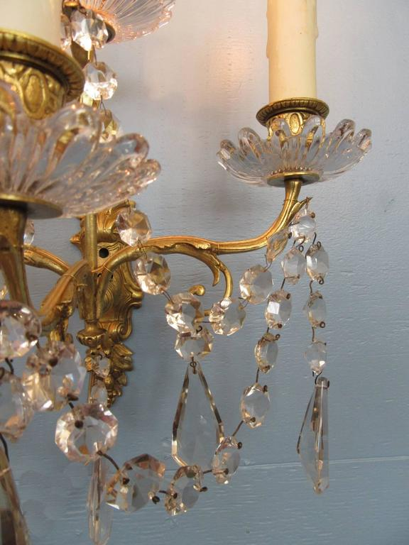 Pair of Early 19th Century French Regence Crystal and Bronze Dore Sconces 5