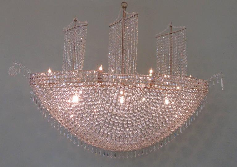 Monumental Mid 20th Century French Crystal And Tole Three