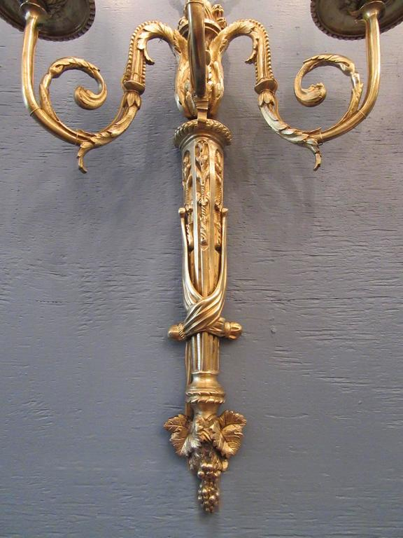 Pair of Early 19th Century French Regence Bronze Dore Sconces with Grapes For Sale 1