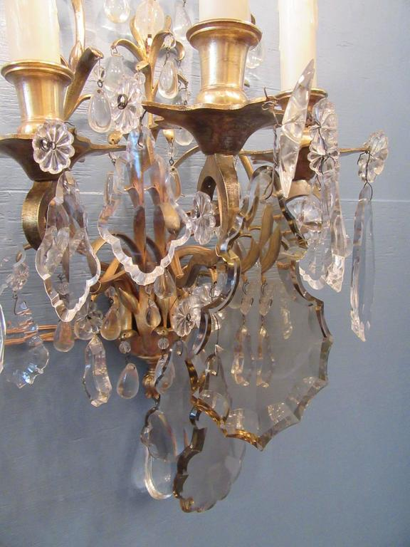Pair of 19th Century French Louis XIV Tall Bronze Dore and Crystal Sconces For Sale 4