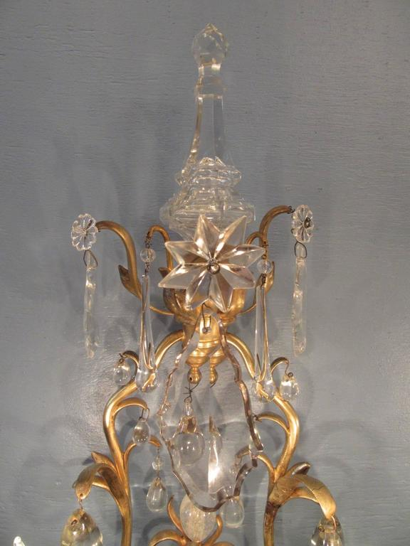 Pair of 19th Century French Louis XIV Tall Bronze Dore and Crystal Sconces 5