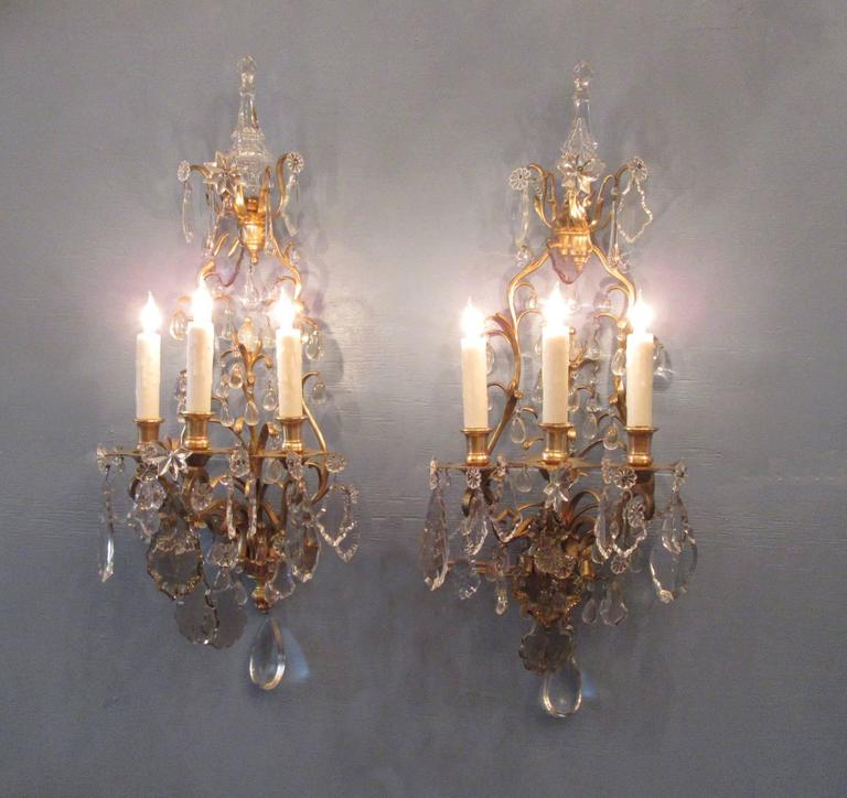 Pair of 19th Century French Louis XIV Tall Bronze Dore and Crystal Sconces For Sale 5