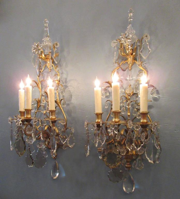 Pair of 19th Century French Louis XIV Tall Bronze Dore and Crystal Sconces 3